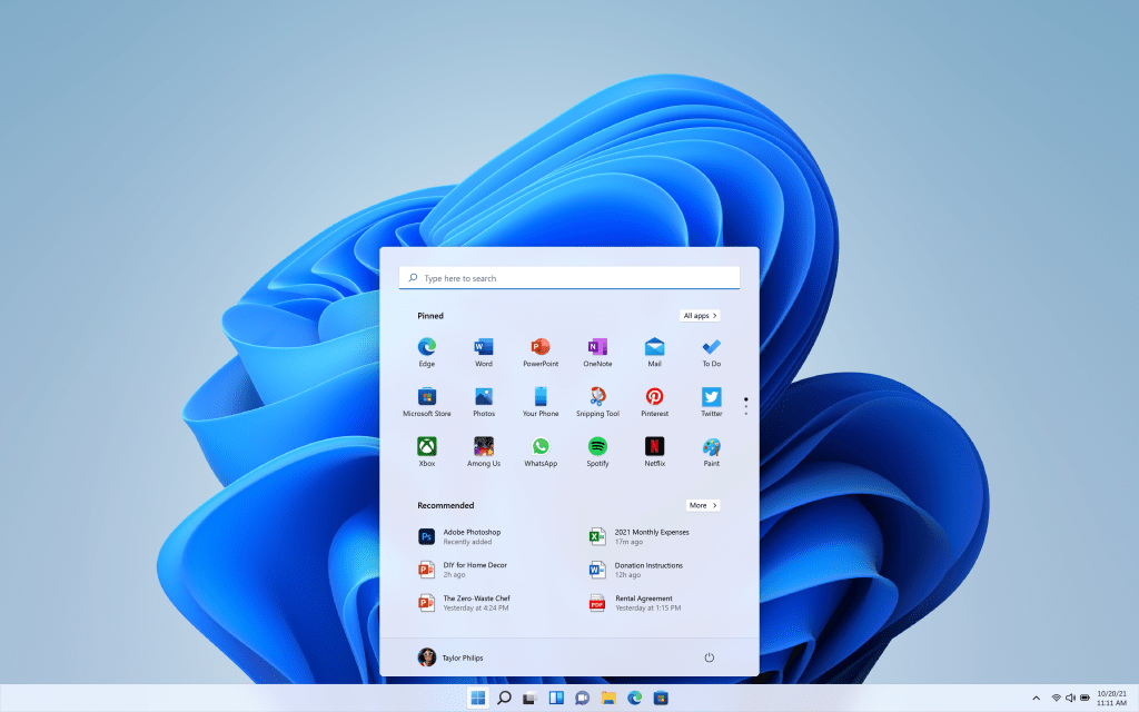 A preview of the new Windows 11 UI